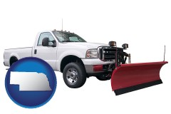 nebraska map icon and a pickup truck snowplow accessory