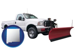 new-mexico map icon and a pickup truck snowplow accessory