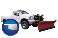 oklahoma map icon and a pickup truck snowplow accessory