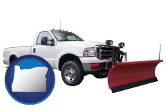 oregon map icon and a pickup truck snowplow accessory