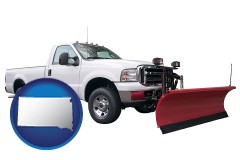 south-dakota map icon and a pickup truck snowplow accessory