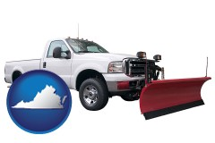 virginia map icon and a pickup truck snowplow accessory