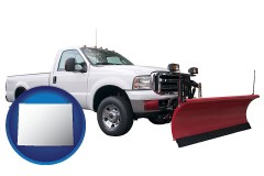 wyoming map icon and a pickup truck snowplow accessory