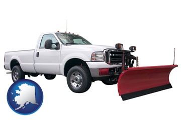 a pickup truck snowplow accessory - with Alaska icon