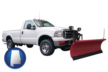 a pickup truck snowplow accessory - with Alabama icon