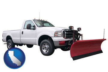 a pickup truck snowplow accessory - with California icon