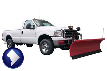 a pickup truck snowplow accessory - with Washington, DC icon