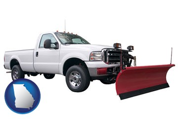 a pickup truck snowplow accessory - with Georgia icon