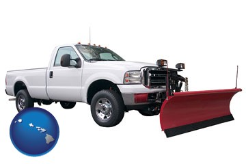 a pickup truck snowplow accessory - with Hawaii icon