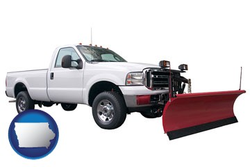 a pickup truck snowplow accessory - with Iowa icon