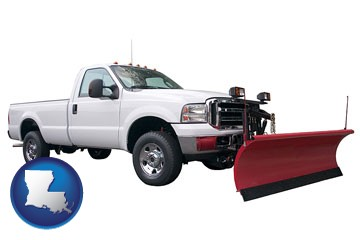 a pickup truck snowplow accessory - with Louisiana icon