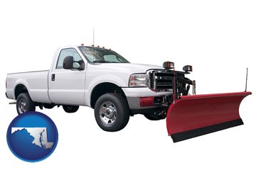 a pickup truck snowplow accessory - with Maryland icon