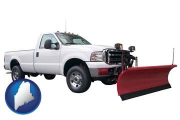 a pickup truck snowplow accessory - with Maine icon