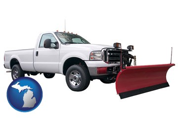 a pickup truck snowplow accessory - with Michigan icon