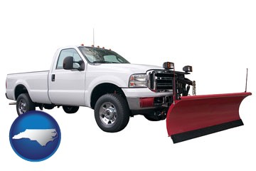 a pickup truck snowplow accessory - with North Carolina icon