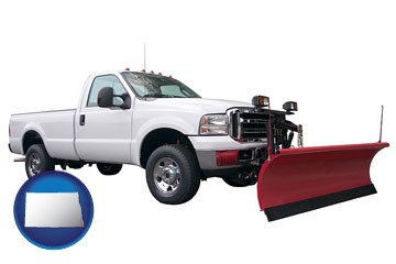 a pickup truck snowplow accessory - with North Dakota icon