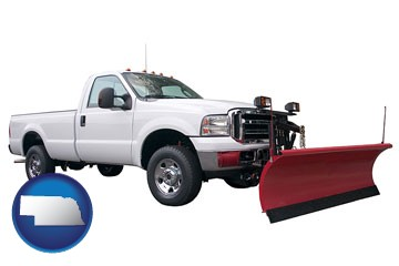 a pickup truck snowplow accessory - with Nebraska icon