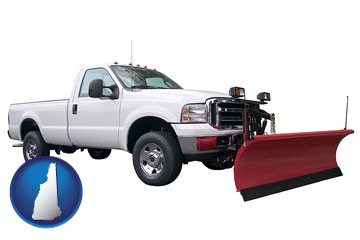 a pickup truck snowplow accessory - with New Hampshire icon