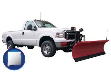 a pickup truck snowplow accessory - with New Mexico icon