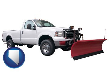 a pickup truck snowplow accessory - with Nevada icon