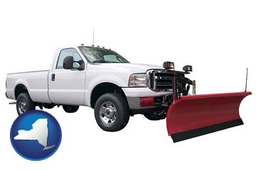 a pickup truck snowplow accessory - with New York icon