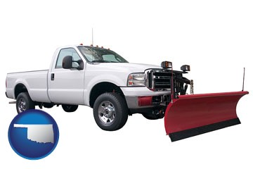 a pickup truck snowplow accessory - with Oklahoma icon