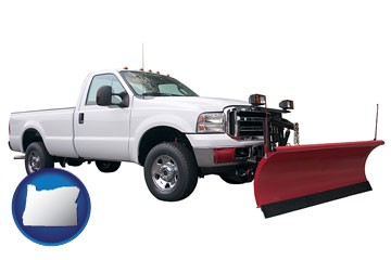 a pickup truck snowplow accessory - with Oregon icon