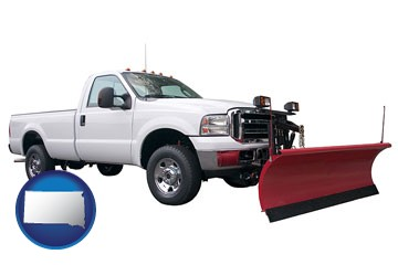 a pickup truck snowplow accessory - with South Dakota icon