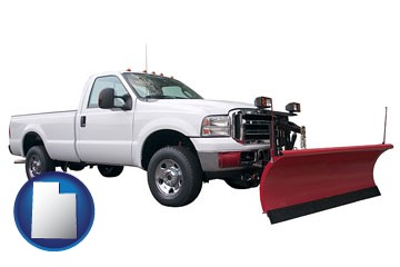 a pickup truck snowplow accessory - with Utah icon