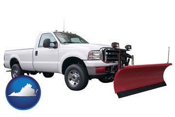 a pickup truck snowplow accessory - with Virginia icon