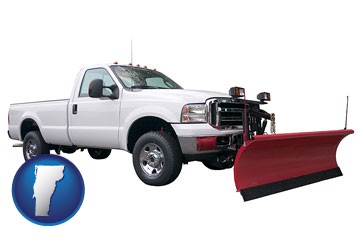 a pickup truck snowplow accessory - with Vermont icon