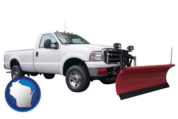 a pickup truck snowplow accessory - with Wisconsin icon