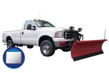 a pickup truck snowplow accessory - with Wyoming icon