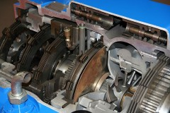 a cross section of a truck transmission gearbox