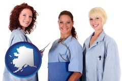 alaska three female doctors wearing hospital uniforms