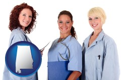 alabama three female doctors wearing hospital uniforms