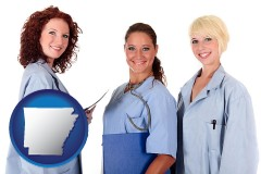 arkansas three female doctors wearing hospital uniforms