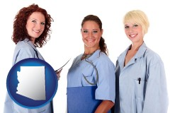 arizona three female doctors wearing hospital uniforms