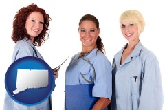 connecticut three female doctors wearing hospital uniforms