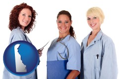 delaware three female doctors wearing hospital uniforms