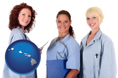 hawaii three female doctors wearing hospital uniforms