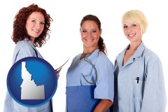 idaho three female doctors wearing hospital uniforms