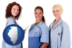 illinois three female doctors wearing hospital uniforms