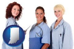 indiana three female doctors wearing hospital uniforms