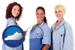 kentucky three female doctors wearing hospital uniforms