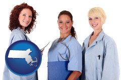 massachusetts three female doctors wearing hospital uniforms