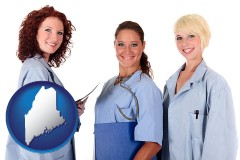 maine three female doctors wearing hospital uniforms