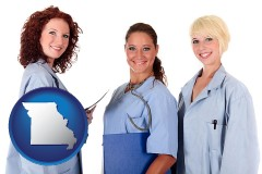 missouri three female doctors wearing hospital uniforms