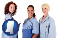 mississippi three female doctors wearing hospital uniforms