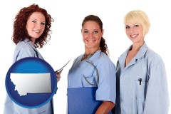 montana three female doctors wearing hospital uniforms